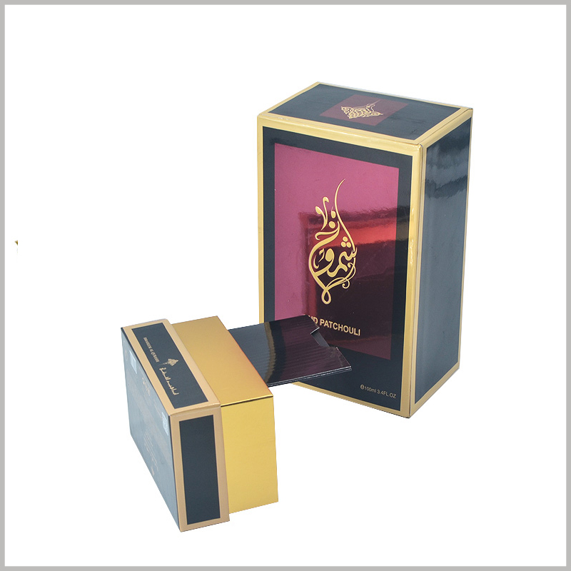 100 ml perfume gift packaging wholesale. The interior of the base of the perfume packaging uses gold cardboard as the laminated paper, and the golden color increases the luxury of the packaging.