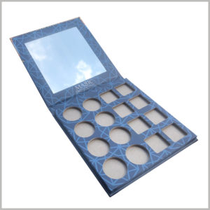 16 colors eyeshadow boxes packaging with mirror. Inside the eyeshadow palette package, 8 round eyeshadow trays and 8 square eyeshadow trays can be placed inside, with different styles.