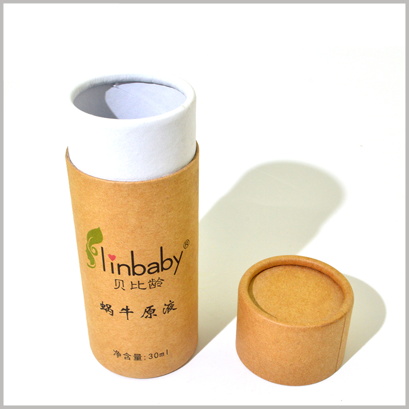 Small kraft paper tube for 30ml skin care boxes packaging.Product and brand information can be printed directly on kraft paper.