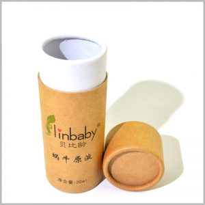 Small kraft paper tube for 30ml skin care product packaging.There is no EVA or other inserts inside the cardboard tube package, and the essential oil glass bottle is directly placed.