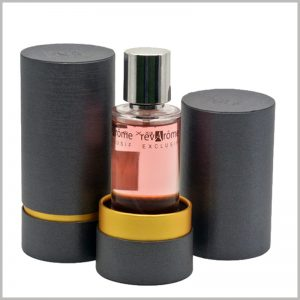 black cardboard tube packaging for perfume boxes.The EVA cylinder inside the paper tube can fix the perfume bottle and prevent the glass bottle from directly touching the wall of the paper tube.