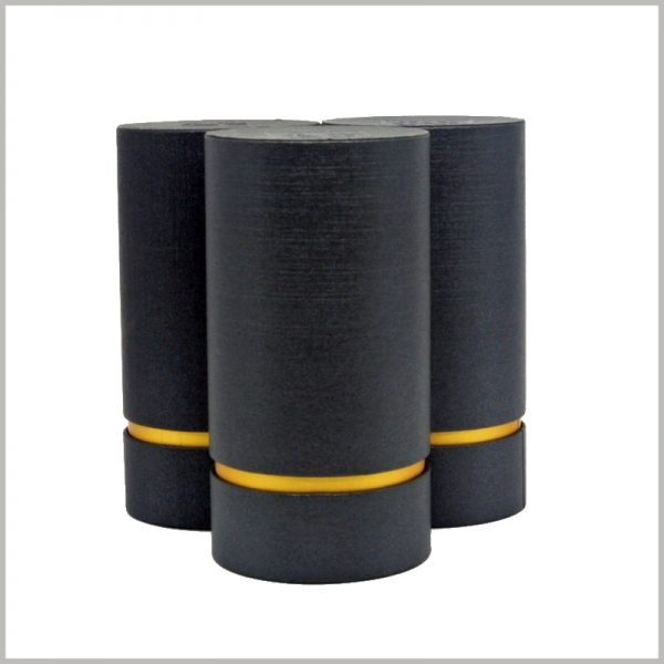 black cardboard tube packaging with logo.Packaging manufacturers can provide you with customizable round boxes, including size and print content.Packaging manufacturers can provide you with customizable round boxes, including size and print content.