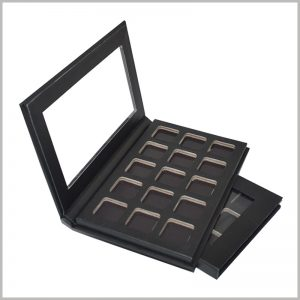 black eyeshadow packaging boxes with windows.There are 15 independent small spaces inside the black cardboard boxes, which can hold 15 different color eye shadows separately