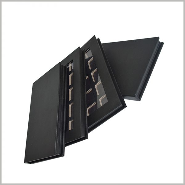black hard cardboard boxes with windows for eyeshadow packaging.With one or more printing processes, the brand information can be reflected in the packaging, which can enhance the product and brand value.