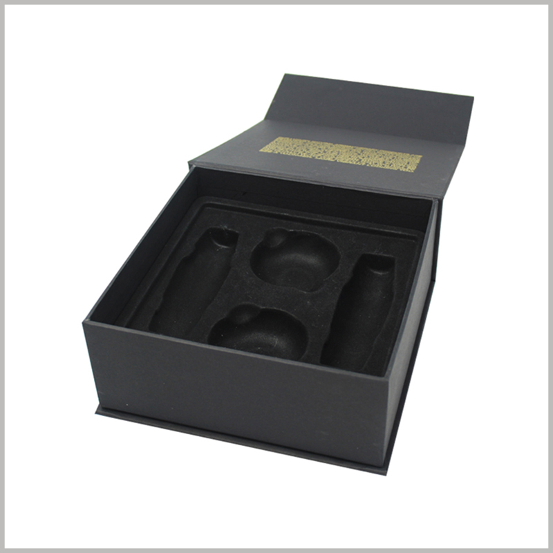 black square skin care product packaging boxes with insert.The black flocking blister has a good visual and touch sense, which plays a role in beautifying the interior of product packaging.