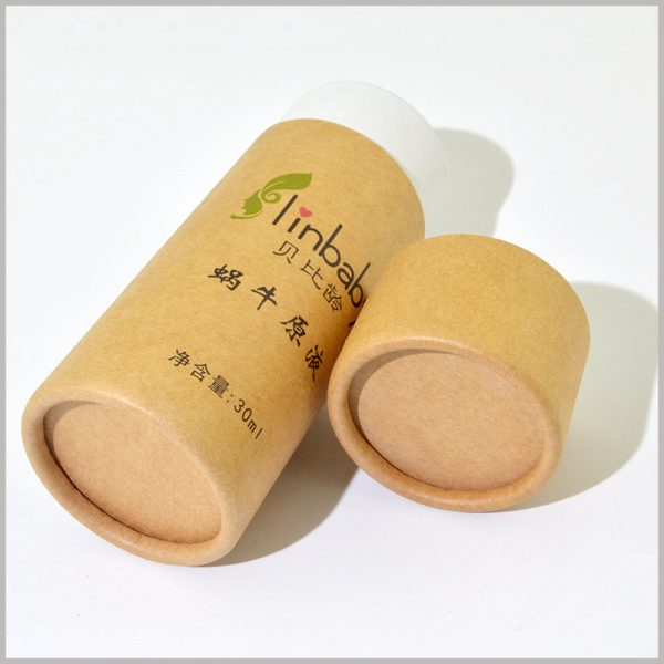 Custom brown kraft paper tube for 30ml skin care product packaging.The paper tube has smooth curls and no wrinkles, making it a very high-quality custom packaging.
