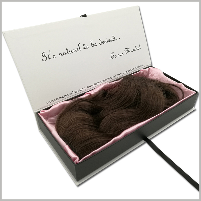 custom hard cardboard boxes for wigs packaging.This packaging can be used as a gift box, tied with a black narrow silk cloth to make a gift knot, will make people receiving wig gifts feel valued.
