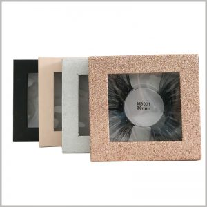 custom luxury small square boxes for eyelash packaging.This cardboard boxes with windows, you can directly see the product information such as eyelash styles and labels.