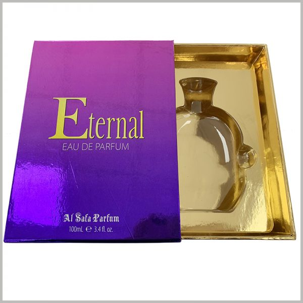 luxury empty gift boxes for 100ml perfume packaging.The inner insert of the box is transparent blister, but with gold cardboard as the laminated paper, the visual appearance of the perfume package is excellent.
