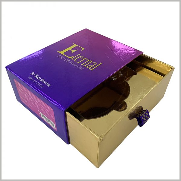 luxury empty gift boxes for perfume packaging.The inner box of the package uses gold cardboard as laminated paper, creating a very luxurious visual sense of packaging and products.