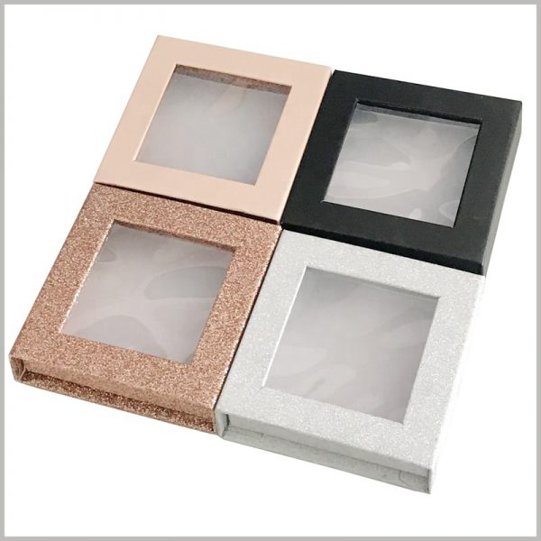 luxury small eyelash packaging boxes with square clear windows.According to the product, you can choose black, white, pink and other packaging colors as a reference to improve the current sales situation.