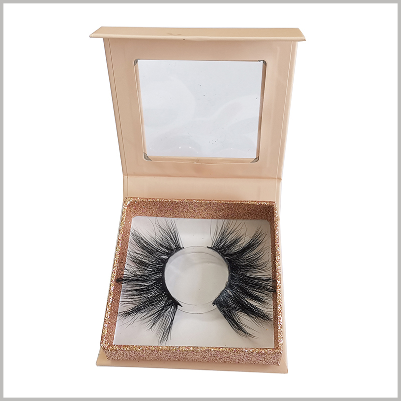 luxury small eyelash packaging boxes with clear windows and with blister insert.