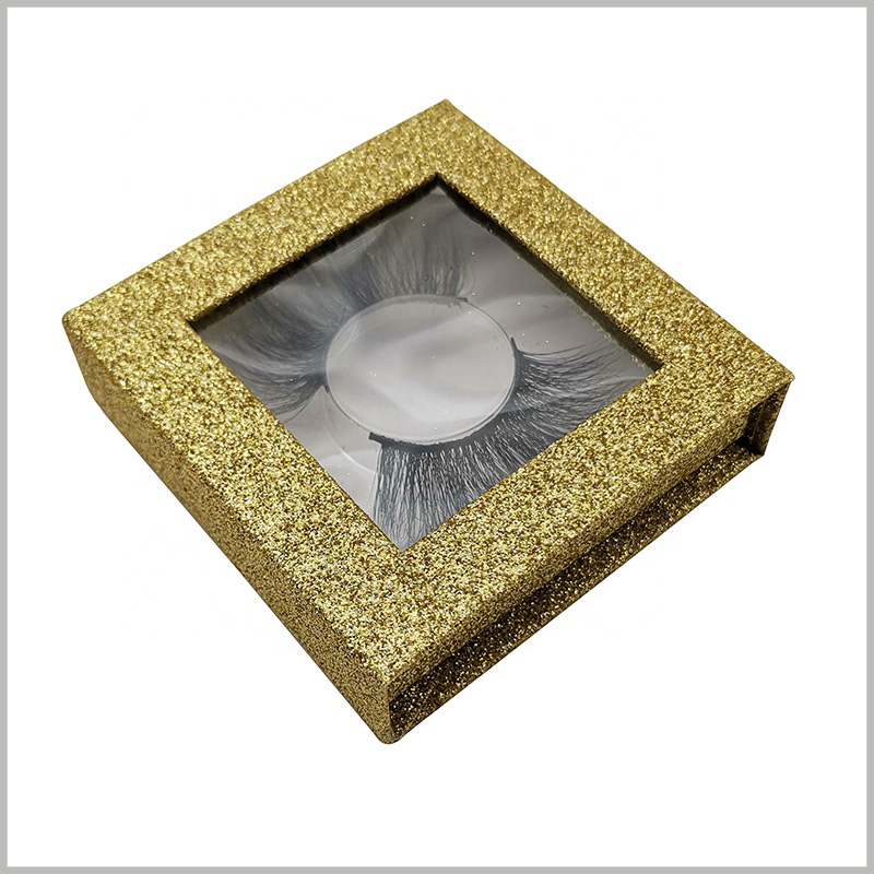 luxury small square boxes for eyelash packaging.Gold cardboard boxes, and U gold powder on the surface of custom packaging, greatly improving the luxury of packaging
