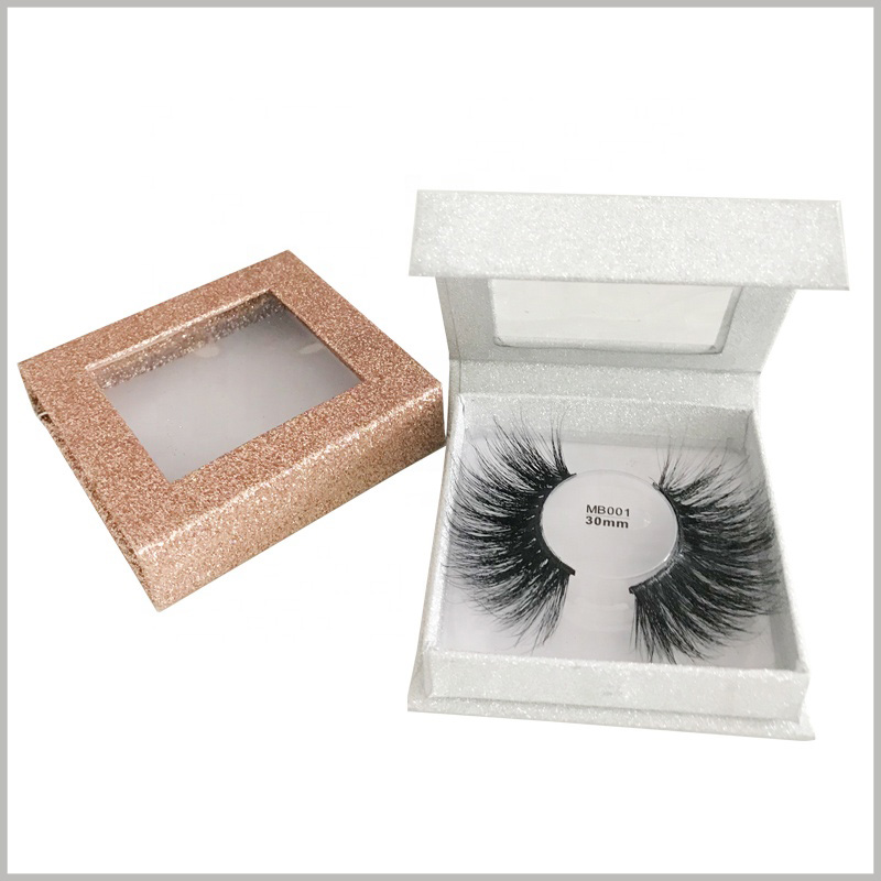 custom white small square boxes for eyelash packaging.The transparent label can be stuck in the middle of the blister, and the customer can directly see the product model in the transparent window of the transparent custom packaging.