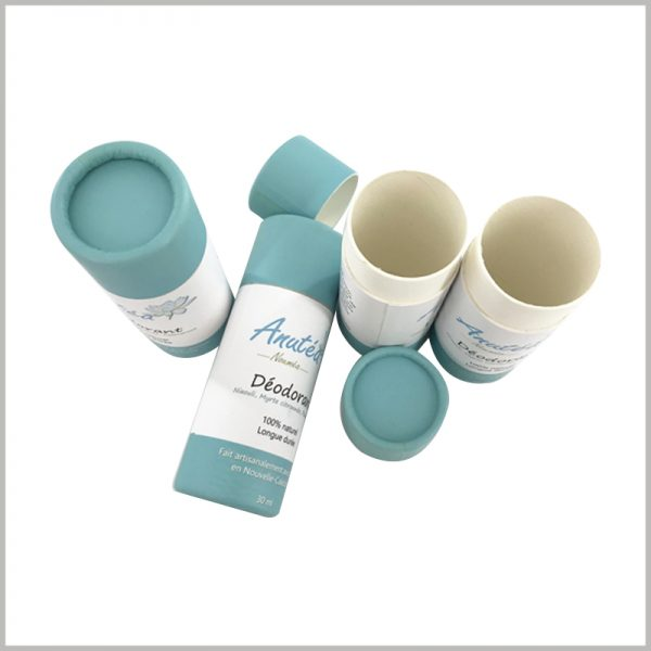 30ml deodorant cardboard push up tube packaging with printing. The deodorant packaging material is 100% recyclable, biodegradable and compostable.