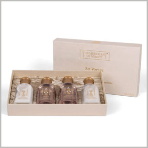 """4 bottle of product packaging for skin care products set. With a specific packaging design, the entire skin care product packaging box looks like a """"wooden box"""", stylish, classic and attractive."""
