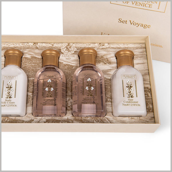4 bottle of product packaging for skin care products set boxes. Laminate the paper printed with wood grain on the surface of EVA (no trace of EVA can be seen), the interior decoration of the package is more luxurious.