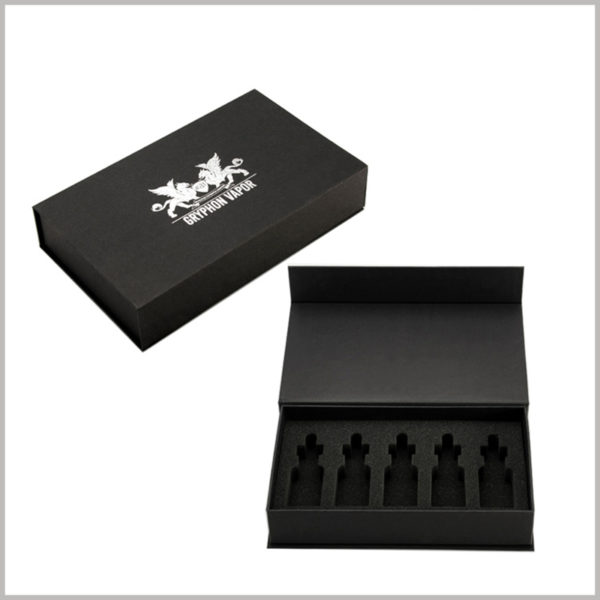 5 bottles of essential oil packaging boxes wholesale.The black cardboard boxes have high-density EVA sponge inserts inside, and the top cover has a unique logo printed on silver.