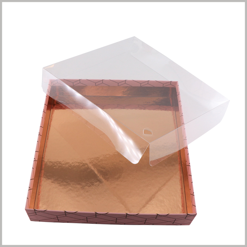 5 sticks makeup brushes packaging boxes with windows. The windows of the entire cosmetics boxes packaging formed by transparent PVC have low manufacturing cost.