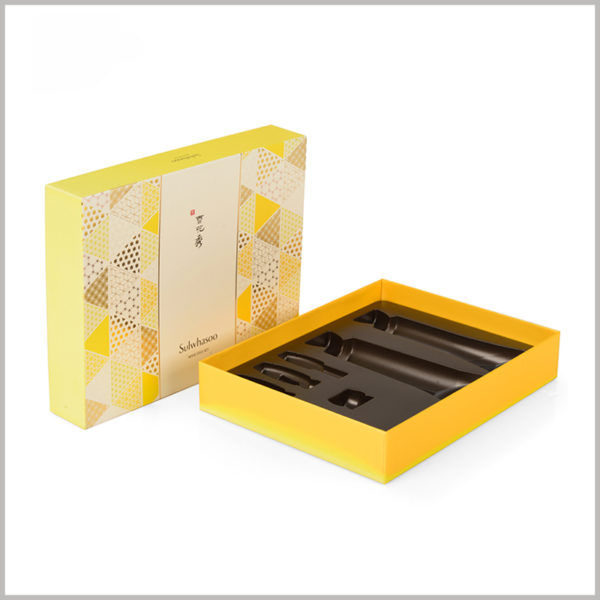 6 bottles of skincare packaging boxes set wholesale. This customized skincare kit boxes can hold multiple bottles of skincare products at once, which will help increase product sales.