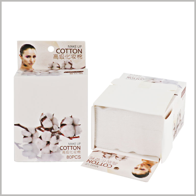 80 pieces of makeup cotton pads packaging. The cost of making a cotton pad carton packaging is low, but it can play a role in promoting the product.