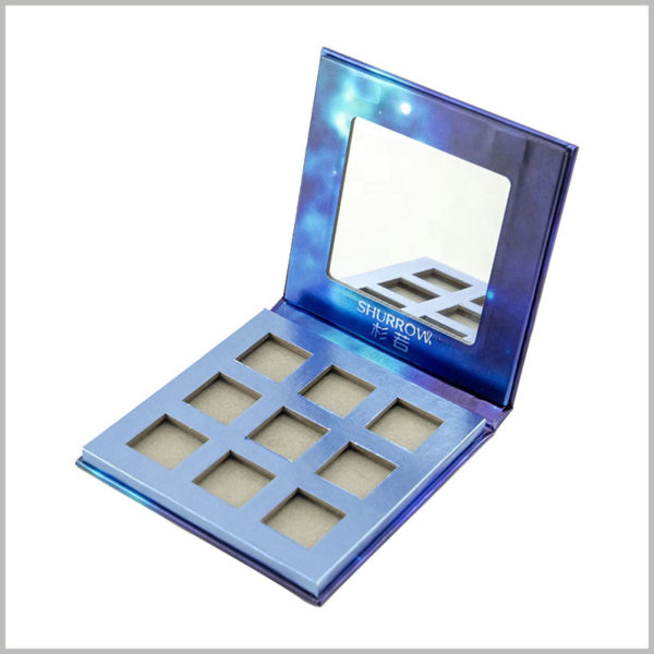9 colors eyeshadow palette box packaging with mirror. The square mirror is designed on the outer shell of the shell, which will greatly facilitate the use of eye shadow.