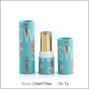 Biodegradable paper lipstick tube packaging wholesale.The diameter of the paper tube is 22mm, the height is 70mm, and the weight of the lipstick is 16.7g.