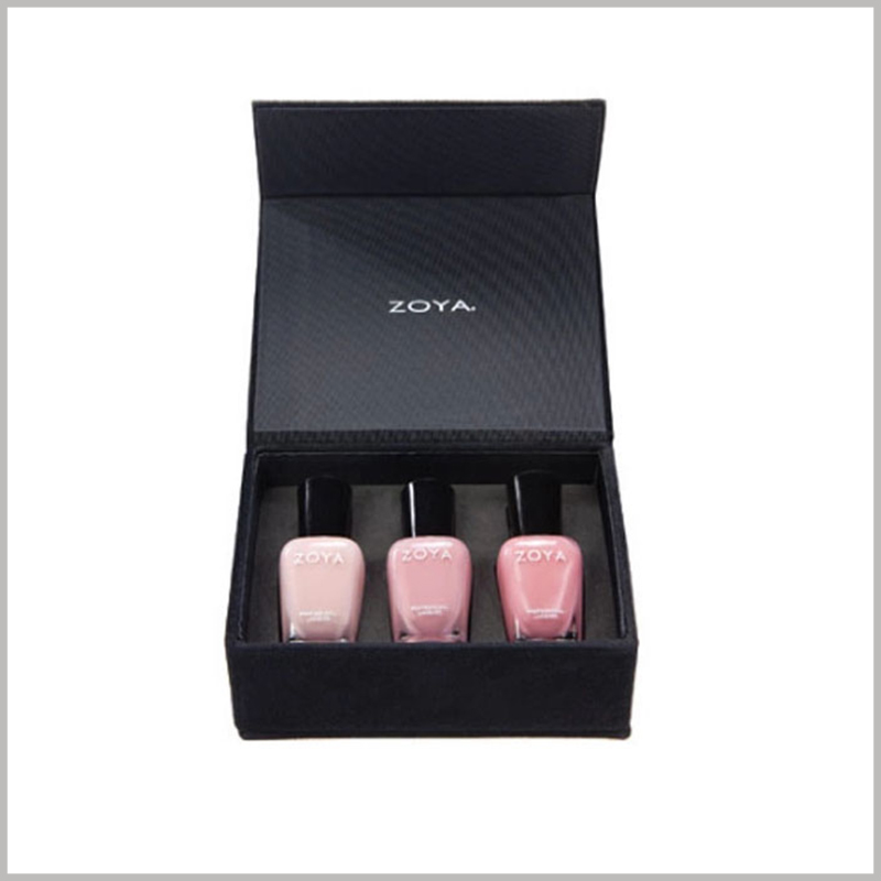 Black cardboard boxes for 3 bottles of nail polish packaging. The interior of the nail polish boxes uses high-density black EVA as an insert to fix three bottles of nail polish.