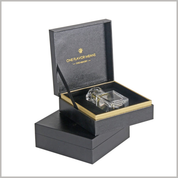 Black cardboard clamshell boxes for perfume bottles packaging, The packaging box is a book-type box packaging. The whole is made of thick black coated paper as a material