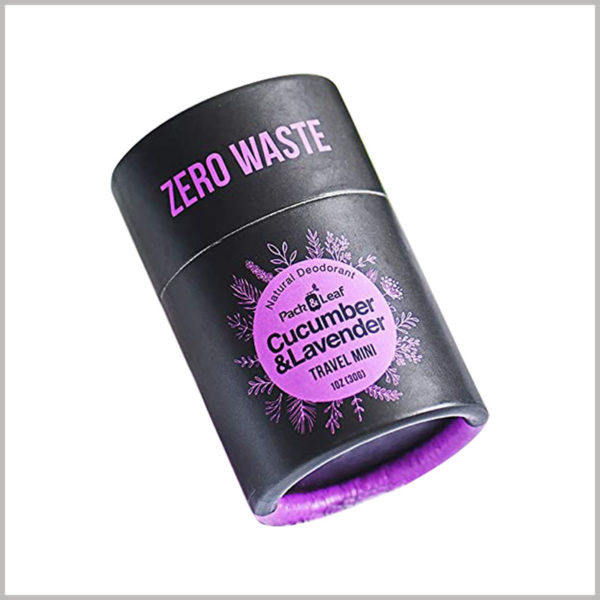Black cardboard tube for 1 oz lavender deodorant packaging