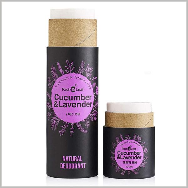 Black cardboard tube for lavender deodorant packaging, The inner tube is made of brown kraft paper tube
