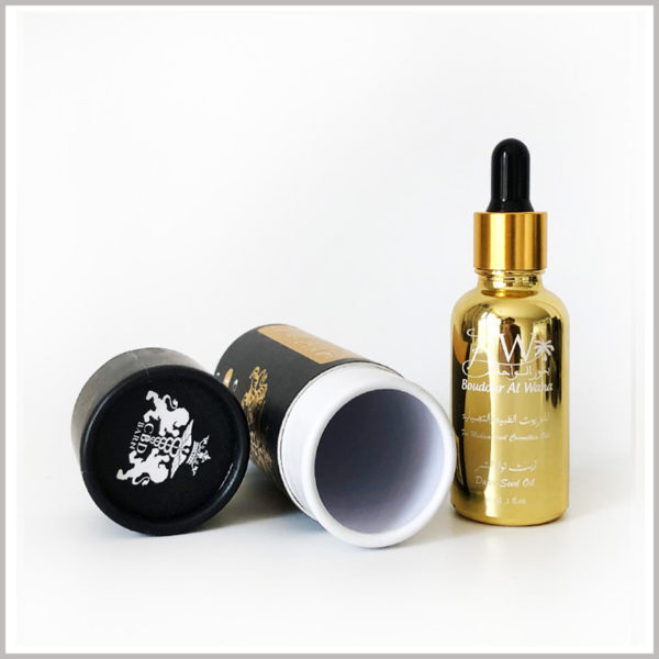 Black cardboard tubes for 1 oz cbd oil packaging. 350g white cardboard has become the main raw material for paper tubes, and black coated paper printed as laminated paper for custom tube packaging.