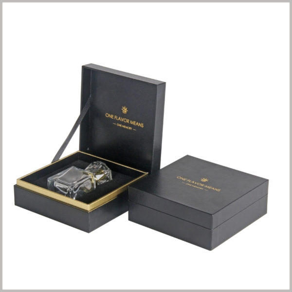 Black clamshell boxes for perfume bottles packaging, The special printing process of black card bronzing is used inside and outside the box to design the brand LOGO.