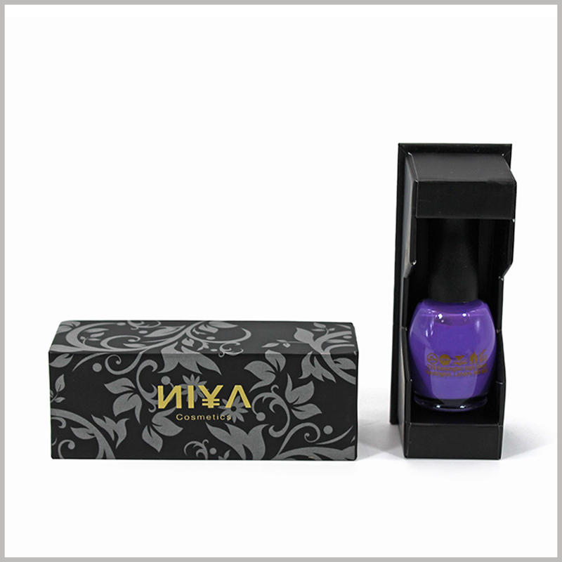 Black cosmetic boxes for single nail polish packaging. The nail polish packaging design has fancy patterns, and the brand name etc. are printed with bronzing, which is conducive to brand building.