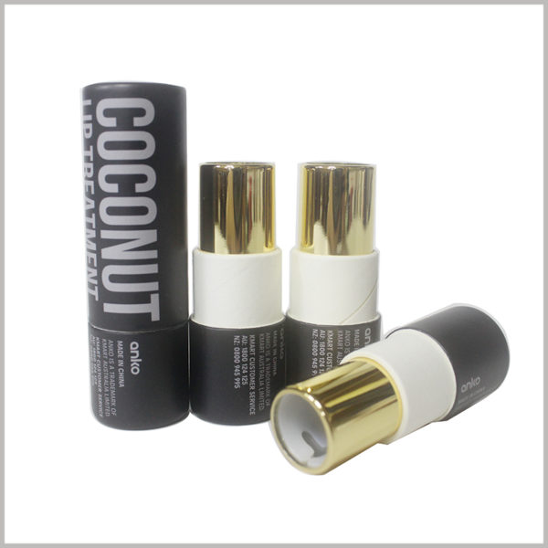 Black empty lipstick tube packaging boxes. Customized paper tube packaging is printed with product-related information, highlighting the importance of the product.