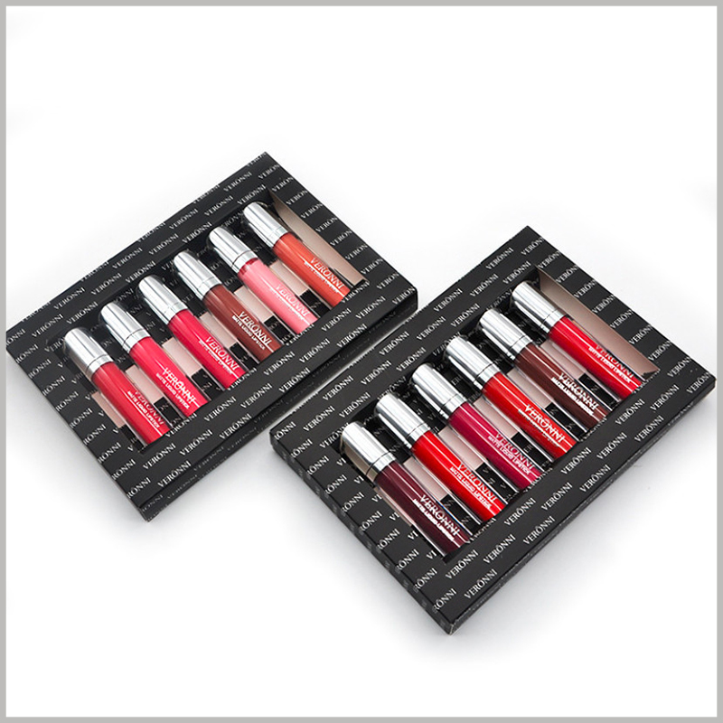 Black lip gloss packaging hold six bottles. Customized lip gloss packaging uses internal cardboard to fix the lip gloss to avoid shaking of the lip gloss, which is beneficial to the stability of the product.