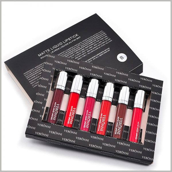 Black lip gloss packaging with windows hold 6 bottles. The black cosmetic packaging is divided into two parts, the outer box of the envelope and the inner box of the lip gloss packaging.