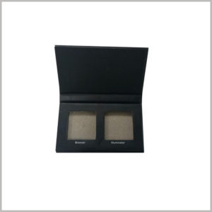 Black small cardboard boxes for two-color eyeshadow packaging. Two square eye shadow tray can be placed inside the packaging box, and the color number of the standard eye shadow will be on the side edge.