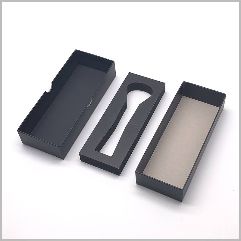 Black small cardboard boxes with eva insert. 1000gsm gray board paper has become the main raw material for cardboard boxes, and the packaging can withstand certain external pressure.
