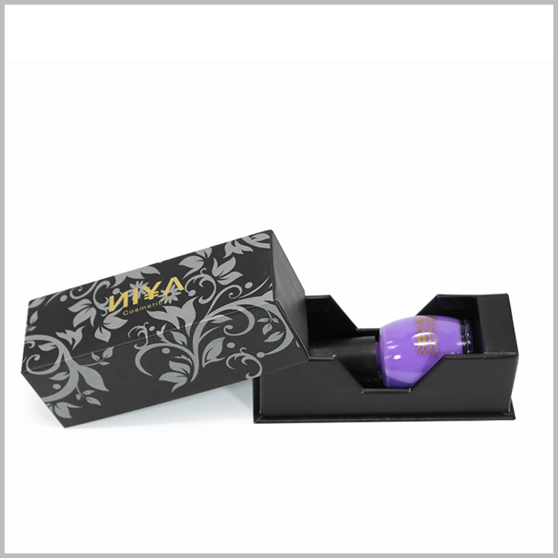Black small cosmetic boxes for single nail polish packaging. The inner box of the packaging box adopts a semi-enclosed structure, with a downward curvature in the middle to facilitate consumers to take the nail polish in the box.