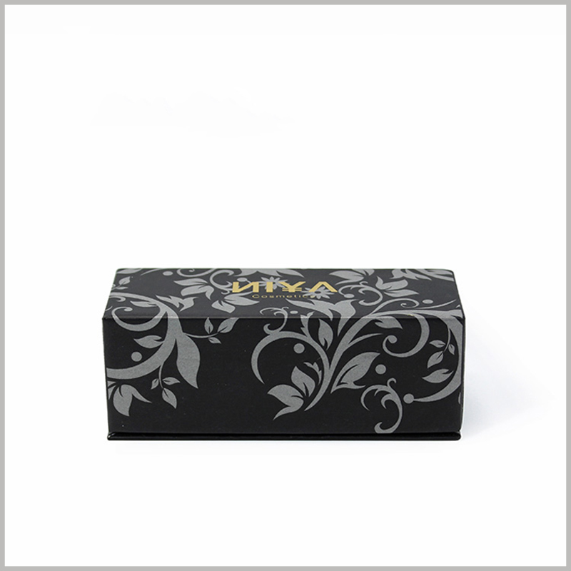 Black small cosmetic boxes wholesale. he internal space of the box is customized according to the size of the nail polish bottle