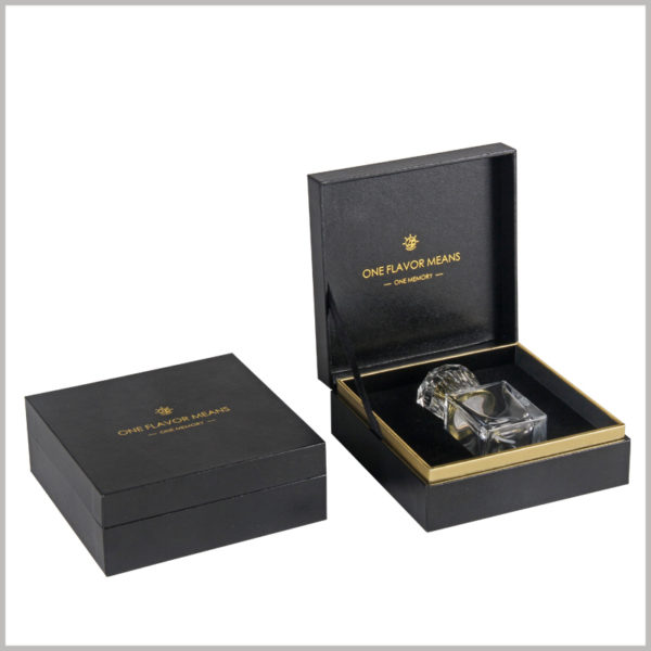 Black square cardboard clamshell boxes for perfume bottles packaging.The inside and outside of the box are made of high-grade black leather paper as laminated paper.