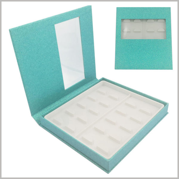 Blue False eyeslash packaging box with window for pack of 10 pairs. The shiny blue eyelashes boxes are full of fashion sense and have important significance for enhancing the attractiveness of false eyelashes.
