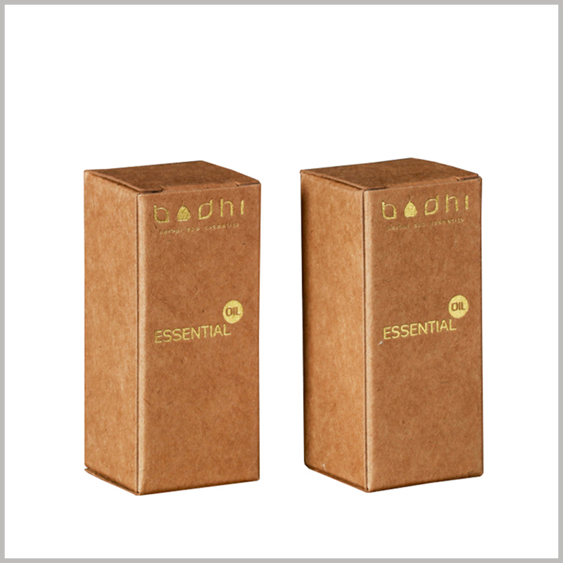 Brown kraft paper packaging for 10ml essential oil boxes. Customized essential oil packaging can print relevant information on the front bronzing for effective promotional materials.