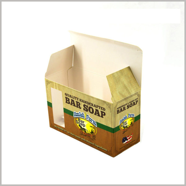 Cheap foldable soap packaging boxes wholesale. Soap boxes made of 350gsm single-powder paper are thin, foldable, and have low packaging costs.