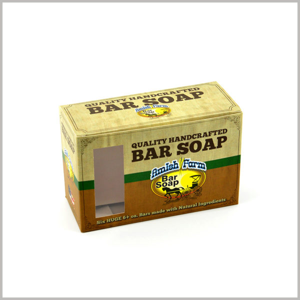 Cheap packaging box with 6-packed soaps.The front of the customized packaging has a square transparent window, allowing part of the product's style to be displayed.