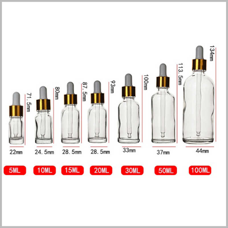 Clear Essential Oils Glass Bottles with different sizes