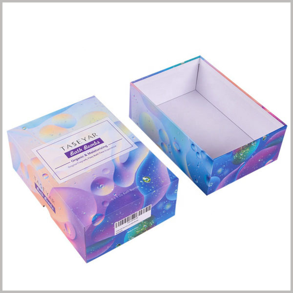 Creative boxes for 6 units of bath bomb packaging. Customized packaging has unique printed content that will increase the appeal of bath ball bombs.