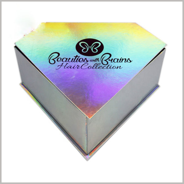 Creative diamond-shaped packaging design for hair collection boxes. The color selection is similar to the diamond sparkling color.