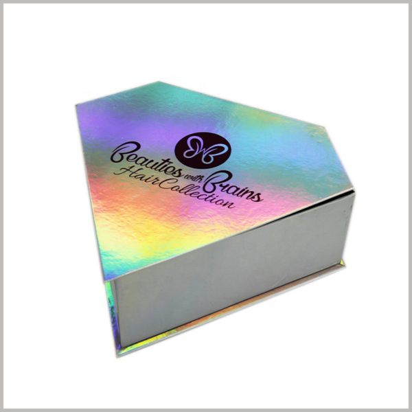 Creative diamond-shaped packaging for hair boxes, On the packaging box, a special color process is used to design the butterfly shape of the brand LOGO.